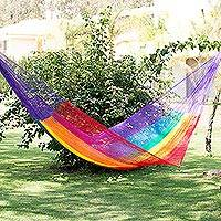 Hammock, 'Dreaming of Rainbows' (single) - Unique Striped Mayan Hammock (Single)