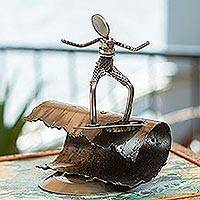 Auto part statuette, 'Rustic Surfer' - Hand Crafted Mexican Recycled Metal and Cart Parts Sculpture