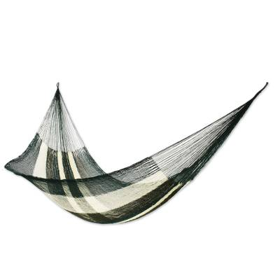 Hammock, 'Forest Slumber' (single) - Striped Green Rope Hammock from Mexico (Single)