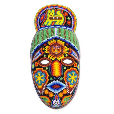 Unique Mexican Hand Beaded Papier MacheHuichol Mask