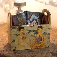 Decoupage magazine rack, 'Kahlo's Two Fridas' - Collectible Decoupage Wood Multicolor Magazine Rack