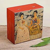 Decoupage tea bag box, 'The Two Fridas' - Kaho Art Decorative Box