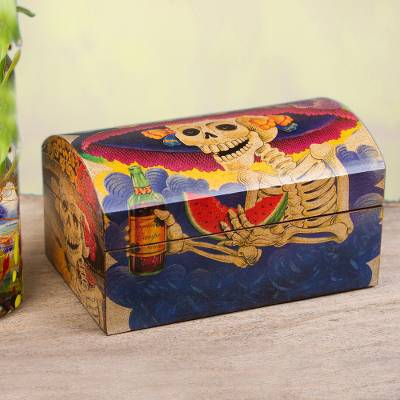 Decoupage chest, 'Catrina My Love' - Day of the Dead Decorative Wood Box