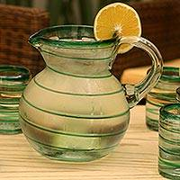Glass pitcher, 'Emerald Spiral' - Handcrafted Handblown Glass Green Stripe Pitcher 71 Ounces