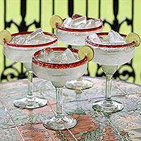 Margarita glasses, 'Ruby Cheer' (set of 4) - Artisan Crafted Handblown Recycled Glass Margarita Drinkware