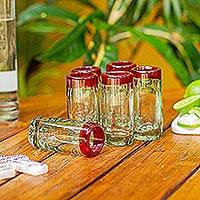Tequila glasses, 'Ruby Shot' (set of 6) - Hand Blown Tequila Glasses Set of 6 Red Rim Mexico