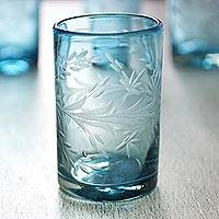 Etched glasses, 'Aquamarine Flowers' (set of 6) - Fair Trade Mexican Handblown Glass Recycled Blue Tumblers