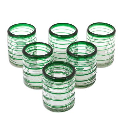 Tumblers, 'Emerald Spiral' (set of 6) - Handcrafted Handblown Glass Recycled Striped Juice Drinkware