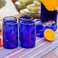 Etched drinking glasses, Blue Blossoms (set of 6) - Handblown Glass Recycled Tumbler Drinkware (Set of 6)