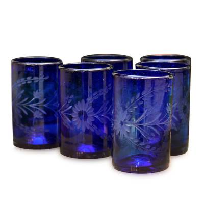 Etched drinking glasses, 'Blue Blossoms' (set of 6) - Handblown Glass Recycled Tumbler Drinkware (Set of 6)