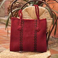 Wool handbag, 'Zapotec Red' - Unique Women's Wool Tote Handbag