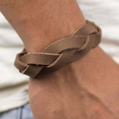 Men's leather wristband bracelet, 'Honey Braid' - Men's Leather Wristband Bracelet