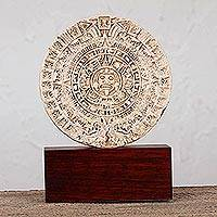 Sculpture, 'Mexica Sun Stone' - Artisan Crafted Archaeology Aztec Calender Ceramic Sculpture