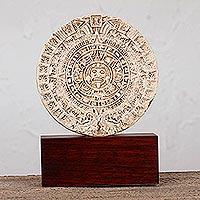 Sculpture, 'Mexica Sun Stone' - Artisan Crafted Archaeology Aztec Calender Ceramic Sculpture