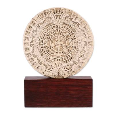 Artisan Crafted Archaeology Aztec Calender Ceramic Sculpture