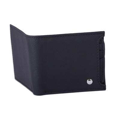Leather wallet, 'Nocturnal Trail Blazer' - Men's Black Leather Wallet with Removable Card Case