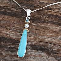 Pearl and turquoise choker, 'Wishes' - Sterling Silver and Natural Turquoise Necklace