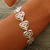 Sterling silver link bracelet, 'Angel Heart'