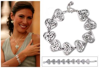 Sterling silver link bracelet, 'Angel Heart' - Sterling silver link bracelet