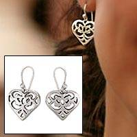 Sterling silver heart earrings, 'Angel Heart' - Sterling silver heart earrings