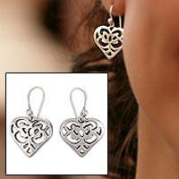 Sterling silver heart earrings, 'Angel Heart' - Sterling silver heart earrings