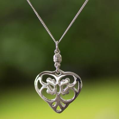 Long necklace, 'Angel Heart' - Victorian Valentine Sterling Silver Pendant Necklace