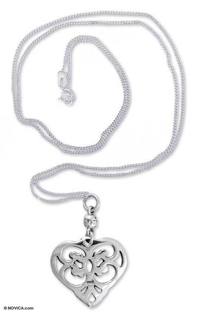 Victorian Valentine Sterling Silver Pendant Necklace