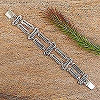 Sterling silver link bracelet, 'Voice of the Wind' - Sterling silver link bracelet