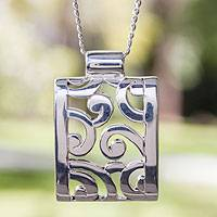Sterling silver pendant necklace, 'Silver Clouds' - Hand Crafted Mexican Taxco Silver Pendant Necklace