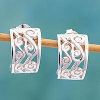 Sterling silver half hoop earrings, 'Silver Clouds' - Silver Half Hoop Earrings Handmade in Mexico