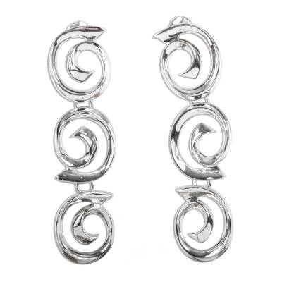 Artisan Crafted Long Sterling Silver Dangle Earrings