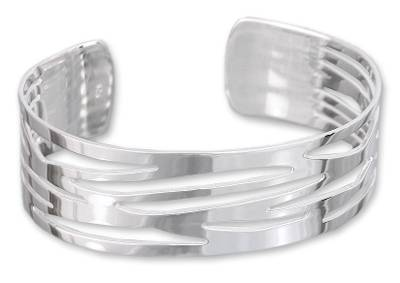 Hand Made Mexican Taxco Silver Cuff Bracelet