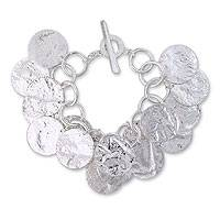Sterling silver charm bracelet, 'Moonlight Reflections' - Unique Taxco Silver Charm Bracelet