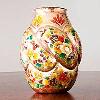 Copper and gold leaf vase,