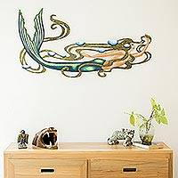 Steel wall art, 'Mermaid Magic' - Graceful Mermaid Wall Sculpture