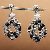 Obsidian cluster earrings, 'Midnight Tears' - Mexican Women's Taxco Silver Beaded Obsidian Earrings