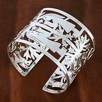 Sterling silver cuff bracelet, 'Tree Codex' - Sterling silver cuff bracelet