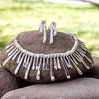 Jewelry set, 'Icicles' - Handcrafted Taxco Silver Contemporary Jewelry Set