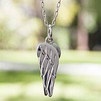 Sterling silver pendant necklace, 'Angel Wings' - Hand Crafted Taxco Silver Sterling Necklace