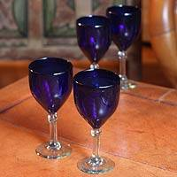 Blown glass wine glasses, 'Cancun Night' (set of 4) - Blue Handblown Glass Wine Glasses Stemware (Set of 4)