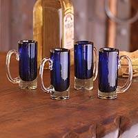 Blown glass shot glasses, 'Deep Sea' (set of 4) - Hand Blown Set of 4 Mexican Tequila Shot Glasses Blue