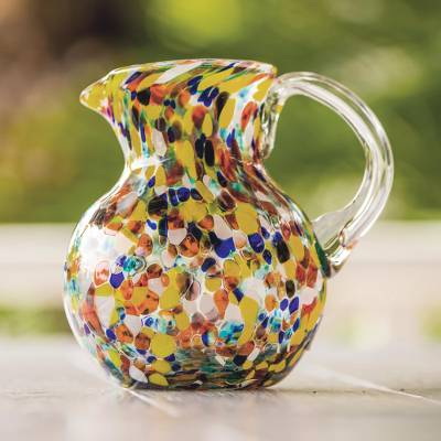 Blown glass pitcher, 'Confetti' - Hand Blown Glass Pitcher 71 Oz Multicolor Mexican Art
