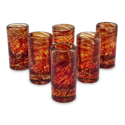 Blown glass shot glasses, 'Ripe Ruby' (set of 6) - Mexico Red Handblown Glass Recycled Shot Drinkware Set of 6