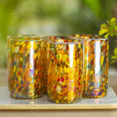Blown glass tumblers, Carnival (set of 6)