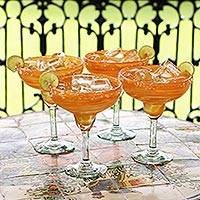 Margarita glasses, 'Butterscotch Swirl (set of 4) - Handcrafted Handblown Glass Margarita Cocktail Drinkware