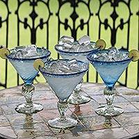 Martini glasses, 'Ice Blue' (set of 4) - Handblown Glass Recycled Martini Drinkware (Set of 4)