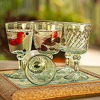 Wine glasses, 'Contoured' (set of 6)