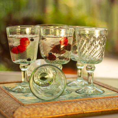 Wine glasses, 'Contoured' (set of 6) - Unique Handblown Glass Wine Drinkware from Mexico