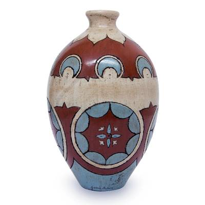 Hand Crafted Antiqued Burnished Clay Ceramic Vase