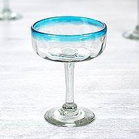 Margarita glasses, 'Aquamarine' (set of 6) - Set of 6 Handcrafted Handblown Glass Margarita Drinkware